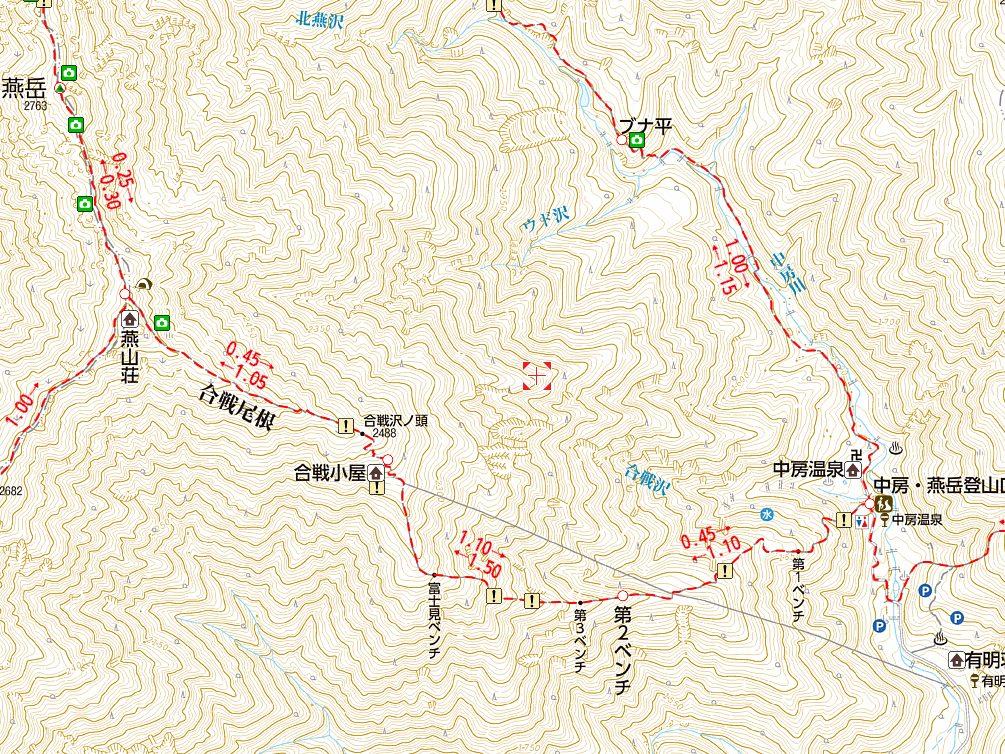 燕岳登山地図