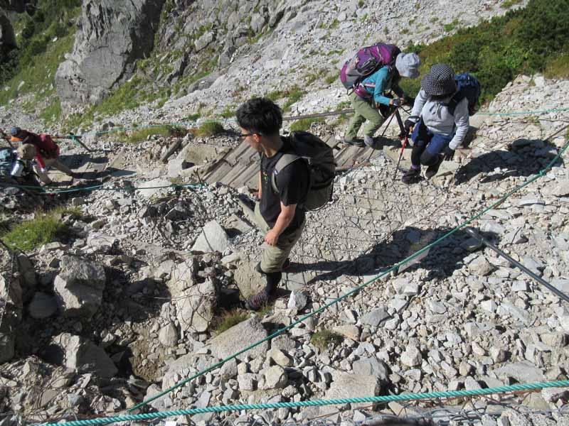 金網に張り巡らされた登山道