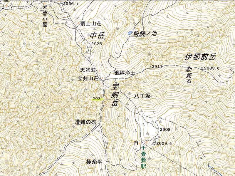 宝剣岳地図